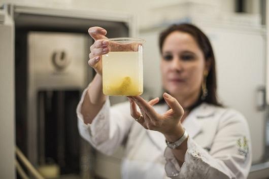 Profª Sueli Rodrigues segura um recipiente com suco amarelo à sua frente (Foto: Jr. Panela/UFC)