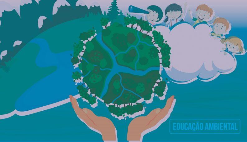Ilustração em tons verdes e azuis de mãos segurando uma esfera de árvores e rios. Há desenhos de crianças ao fundo (Arte: David Mota/UFC)