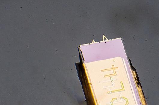 Equipamento similar a um chip com duas pontas triangulares (Foto: Ribamar Neto/UFC)