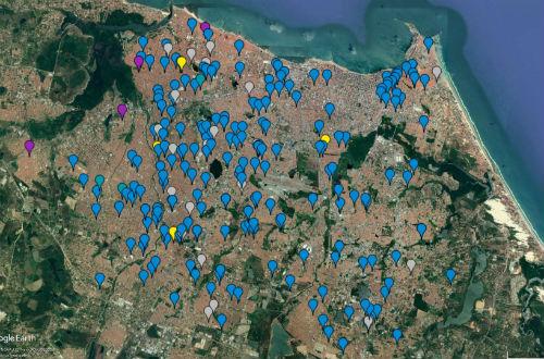 Mapa com pontos marcados, representando os lugares onde já houve solicitantes do projeto (Foto: Divulgação/ETECS)