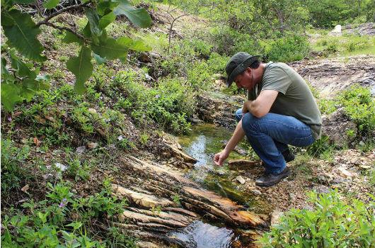 Homem abaixado próximo a um córrego, coletando microalgas (Foto: Divulgação/GBME)