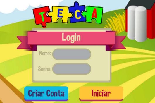 Desenho colorido com o nome TECA em forma de quebra-cabeça e as palavras login, senha, criar conta e iniciar