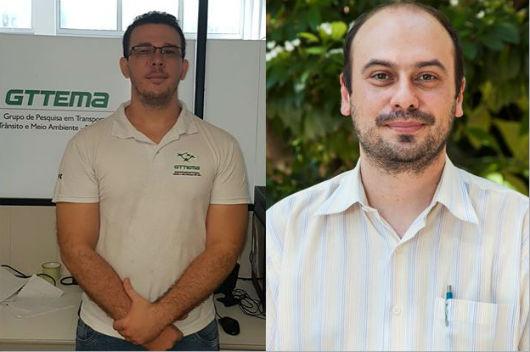 O autor da tese de doutorado, Helry Dias, e seu orientador, Prof. Bruno Bertoncini (Fotos: arquivo pessoal e Viktor Braga/UFC)