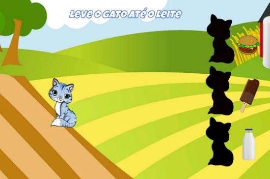 Desenho colorido com um gato azul e outras três silhuetas de gato: uma com um hambúrguer, outro com um picolé e mais outro com uma garrafa de leite. Em cima, os dizeres: leve o gato até o leite