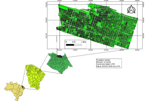 Mapa maior em verde representando os bairros estudados, mapa menor em verde de Fortaleza, mapa verde-claro do Ceará e mapa bege do Brasil (Imagem: Helry Dias)