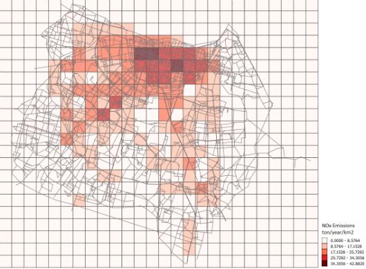 Figura da cidade de Fortaleza com quadriculados em branco e vermelho indicando a quantidade de emissão do gás NOx (Imagem: Helry Dias)