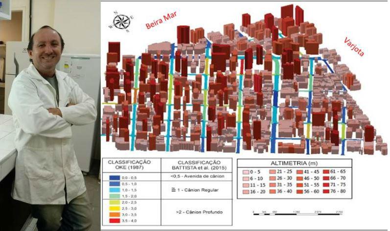 Professor Rivelino Cavalcante à esquerda e maquete com prédios em vermelho indicando a altura dos prédios (Foto: arquivo pessoal/ Imagem: Larissa Aguiar)