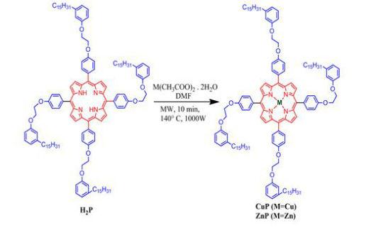 Estruturas em azul e vermelho que mostram a síntese de metaloporfirinas (Imagem: Thayllan Teixeira)