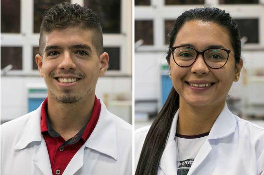 Os doutorandos Thayllan Teixeira e Mayara Oliveira (Fotos: Viktor Braga/UFC)