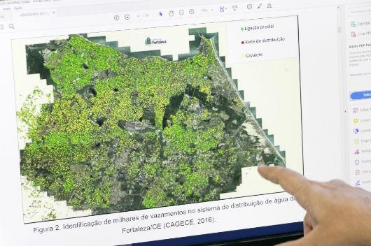 Mapa de Fortaleza com identificação de vazamentos (Foto: Viktor Braga/UFC)