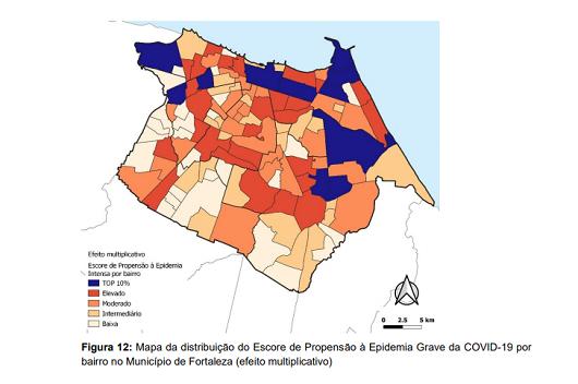 Mapa mostra a propensão dos bairros de Fortaleza a registrar epidemia severa de covid-19