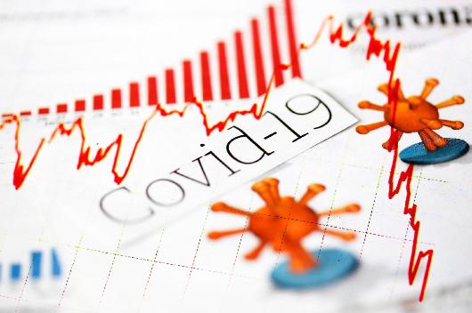 Colagem de imagem do vírus da covid-19 sobre representação de balanço financeiro