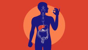 Arte gráfica de uma pessoa tomando comprimido