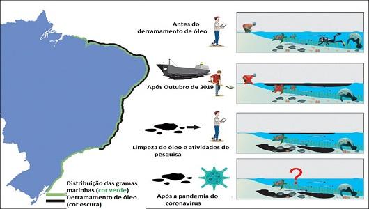 Ilustração mostrando a costa brasileira antes e depois do derramamento de óleo