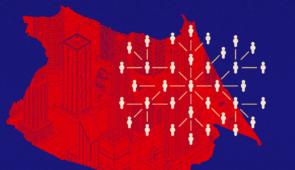 Arte grafica com o mapa de Fortaleza em vermelho e representações da população