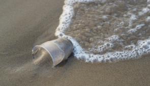 Copo de plástico descartável na areia da praia, com água do mar o molhando