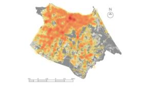Mapa de Fortaleza, com manchas que vão do amarelo claro ao laranja escuro. Quanto mais escuro, maior a quantidade de acidentes