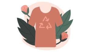 Arte mostrando uma roupa e ao redor de plantas